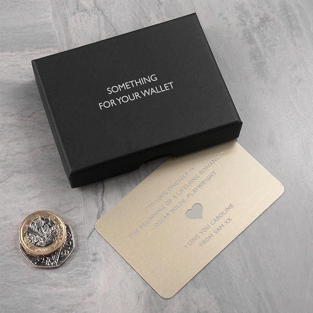 Personalised valentines day gift date keepsake metal wallet card gift purse love