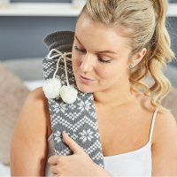 Extra Long Hot Water Bottle - Grey Nordic Knit