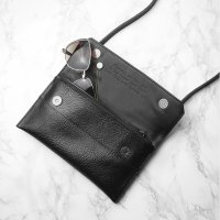 Personalised Black Leather Clutch Bag