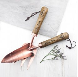 Personalised Luxe Copper Trowel and Fork Set