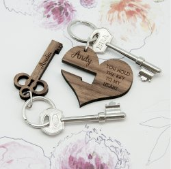 Personalised Key to My Heart Keyring
