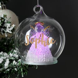 Personalised Christmas LED Angel Bauble
