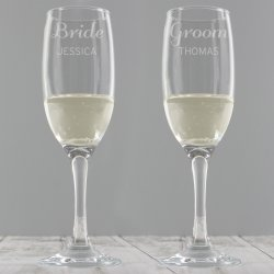Personalised Classic Pair of Glass Flutes