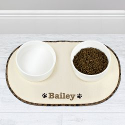 Personalised Microfibre Paw Print Bowl Placemat