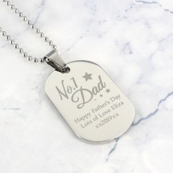 Personalised No.1 Dad Dog Tag Necklace