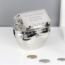 Personalised  Silver Finish Noahs Ark Money Box