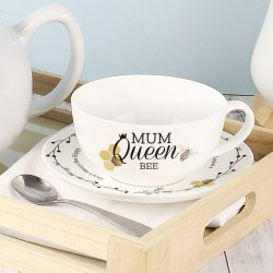 Personalised China Bee Tea Cup and Saucer