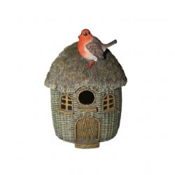 Wicker Effect Bird House with a Robin