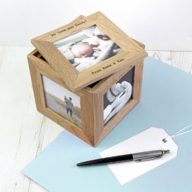 Personalised Oak Photo Frame Cube Keepsake Box