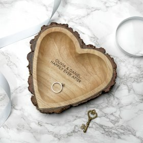 Personalised Rustic Carved Wooden Heart Dish