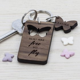 Personalised Walnut Butterfly Keyring