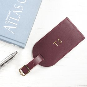Personalised Burgundy Foiled Leather Luggage Tag