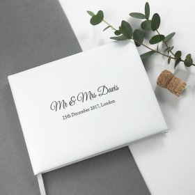 Personalised Engraved White Leather Wedding Guest Book