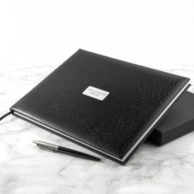 Personalised Black Leather Memoriam Book