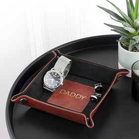 Personalised Luxury Brown Valet Tray - Gold Monogramme