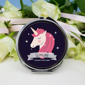 Personalised Sparkle Round Fuchsia Compact Mirror