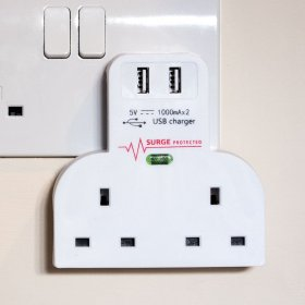 Two-Way Plug Adaptor with USB Ports