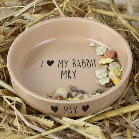 Personalised I Love My Small Ceramic Brown Pet Bowl