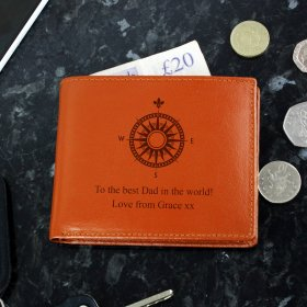 Personalised Compass Tan Leather Wallet