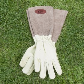 Personalised Brown Leather Gardening Gloves