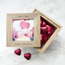 Personalised 30 Days of Kisses Oak Photo Cube