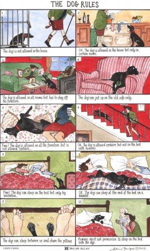 The Dog Rules Tea Towel