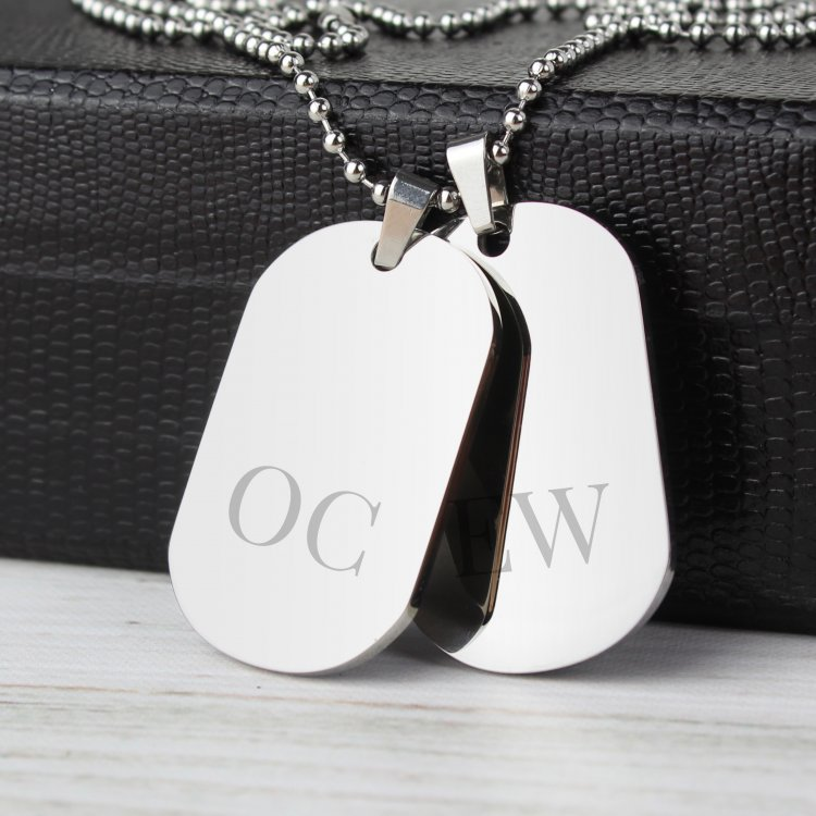 Personalised Initial Double Dog Tag Necklace
