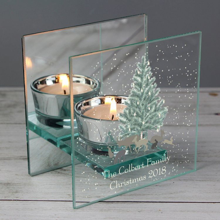Personalised A Winter's Night Mirrored Tea Light Holder