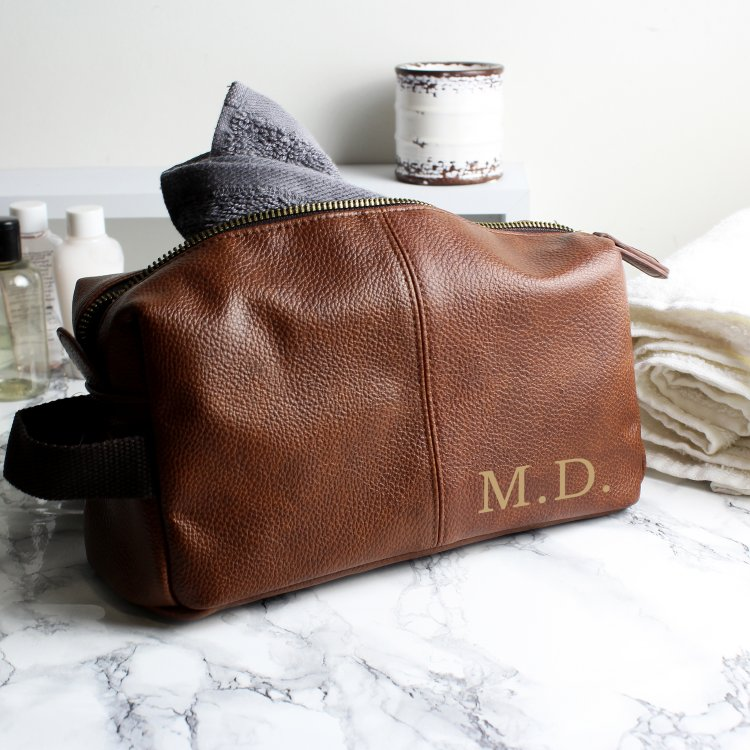 Personalised Luxury Initials Leatherette Wash Bag